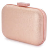 Olga Berg Ally Metallic Clutch evening bag in Rose Gold colourway showing side view