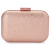 Olga Berg Ally Metallic Clutch evening bag in Rose Gold colourway showing front view