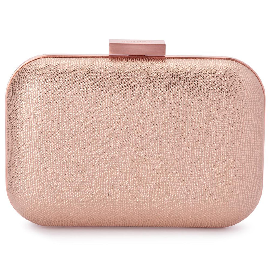 9407c0d882 Olga Berg Ally Metallic Clutch evening bag in Rose Gold colourway showing  front view
