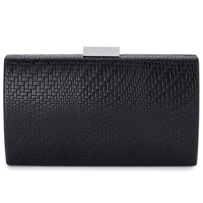 Olga Berg Brooke Woven Embossed Clutch evening bag in Black colourway showing front view