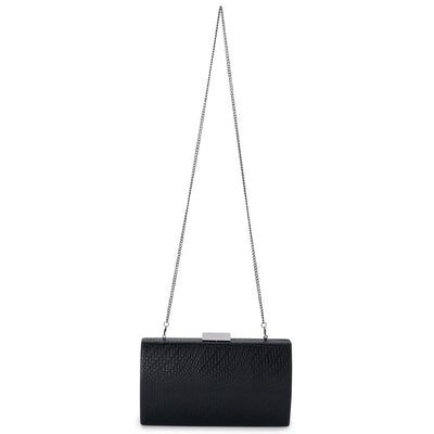 Olga Berg Brooke Woven Embossed Clutch evening bag in Black colourway showing shoulder chain