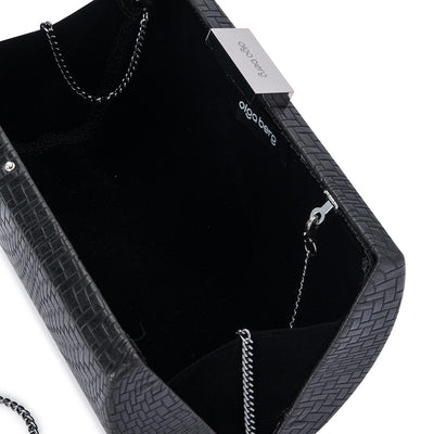 Olga Berg Brooke Woven Embossed Clutch evening bag in Black colourway showing internal view