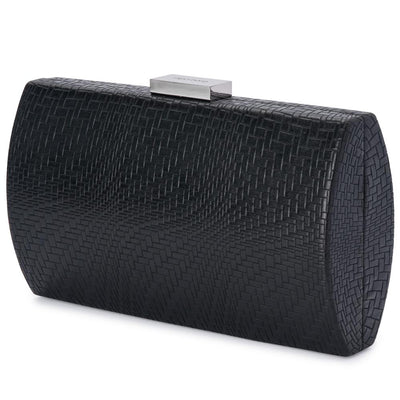 Olga Berg Brooke Woven Embossed Clutch evening bag in Black colourway showing side view