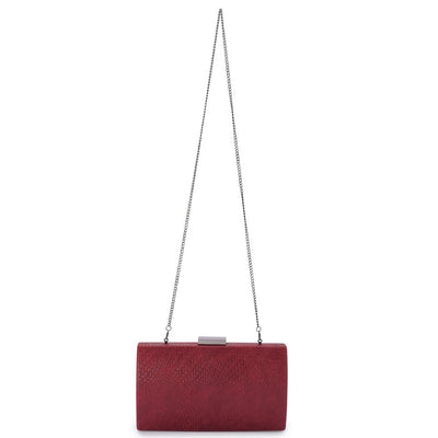 Olga Berg Brooke Woven Embossed Clutch evening bag in Burgundy colourway showing shoulder chain