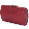 Olga Berg Brooke Woven Embossed Clutch evening bag in Burgundy colourway showing side view