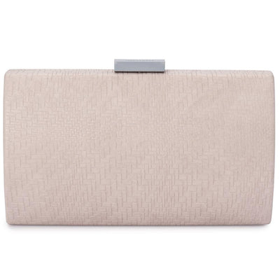 Olga Berg Brooke Woven Embossed Clutch evening bag in Natural colourway showing front view