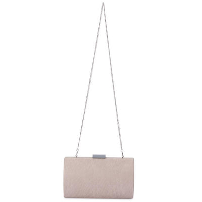 Olga Berg Brooke Woven Embossed Clutch evening bag in Natural colourway showing shoulder chain