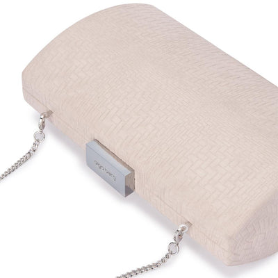 Olga Berg Brooke Woven Embossed Clutch evening bag in Natural colourway showing detailed close up