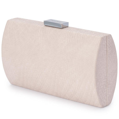 Olga Berg Brooke Woven Embossed Clutch evening bag in Natural colourway showing side view