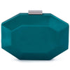 Olga Berg Amelia Satin Clutch evening bag in Green colourway showing front view