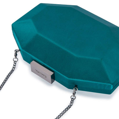 Olga Berg Amelia Satin Clutch evening bag in Green colourway showing detailed close up