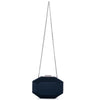 Olga Berg Amelia Satin Clutch evening bag in Navy colourway showing shoulder chain