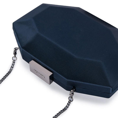 Olga Berg Amelia Satin Clutch evening bag in Navy colourway showing detailed close up