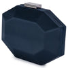 Olga Berg Amelia Satin Clutch evening bag in Navy colourway showing side view