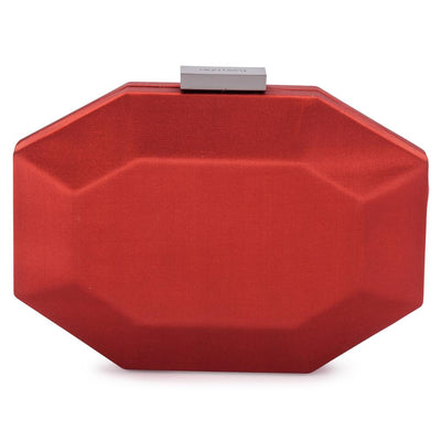 Olga Berg Amelia Satin Clutch evening bag in Rust colourway showing front view