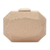 Telesa Crystal Facet Gold Clutch Front View