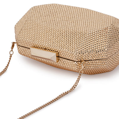 Telesa Crystal Facet Gold Clutch Detail View