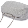 Telesa Crystal Facet Silver Clutch Detail View