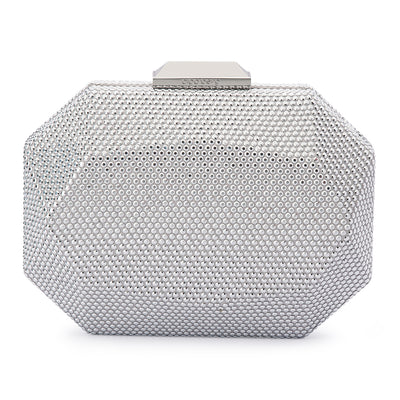 Telesa Crystal Facet Silver Clutch Front View