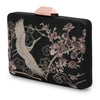 Katia Raised Embroidery Black Clutch Side View