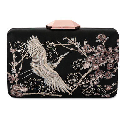 Katia Raised Embroidery Black Clutch Front View