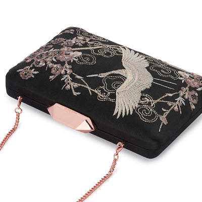 Katia Raised Embroidery Black Clutch Detail View