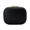 Mila Rounded Simple Black Clutch Front View