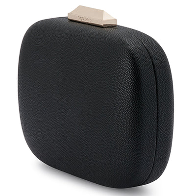 Mila Rounded Simple Black Clutch Side View