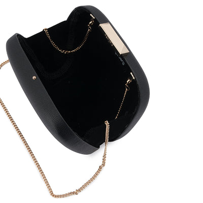 Mila Rounded Simple Black Clutch Internal View