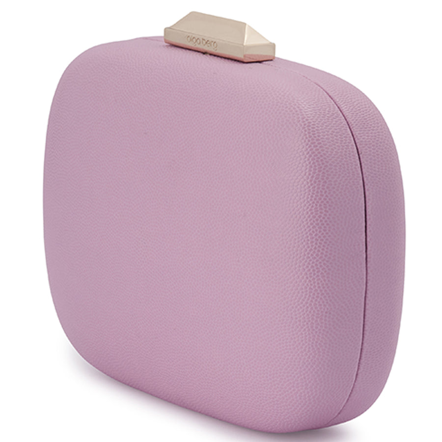 Mila Rounded Simple Lilac Clutch Front View