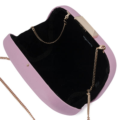Mila Rounded Simple Lilac Clutch Internal View