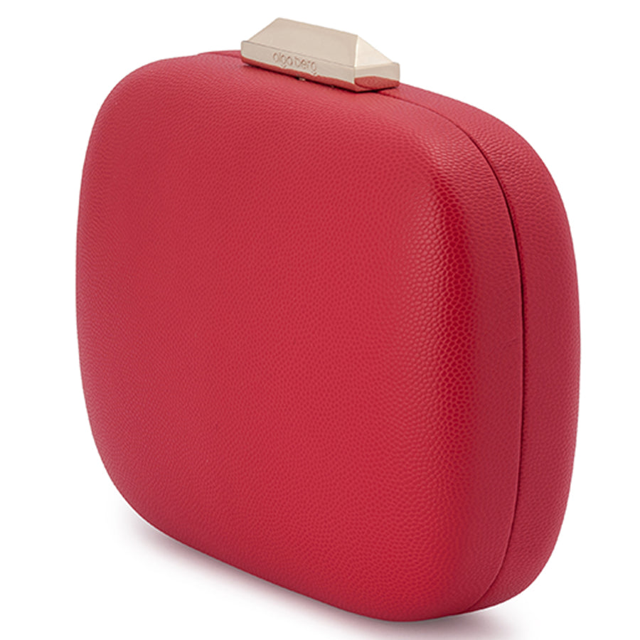 Mila Rounded Simple Red Clutch Front View