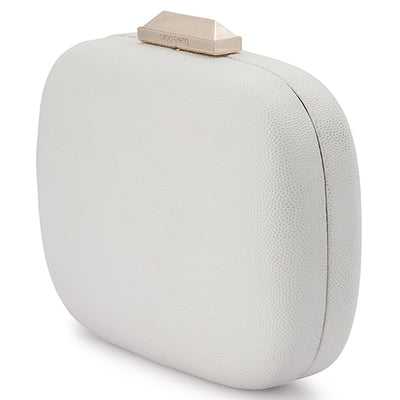 Mila Rounded Simple White Clutch Side View