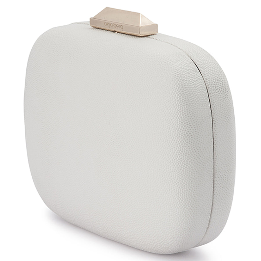 Mila Rounded Simple White Clutch Front View