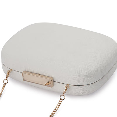 Mila Rounded Simple White Clutch Detail View
