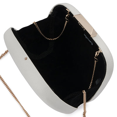 Mila Rounded Simple White Clutch Internal View
