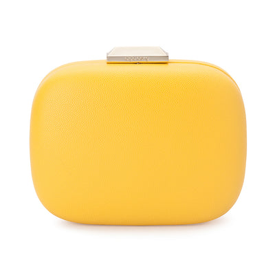 Mila Rounded Simple Yellow Clutch Front View