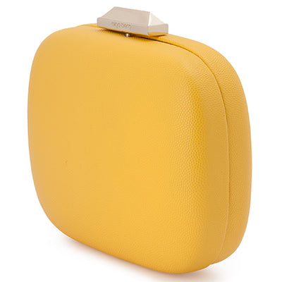 Mila Rounded Simple Yellow Clutch Side View