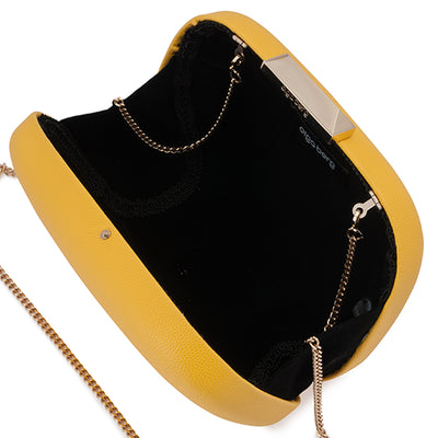 Mila Rounded Simple Yellow Clutch Internal View