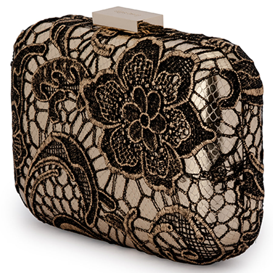 Grace Metallic Lace Gold Clutch Front View