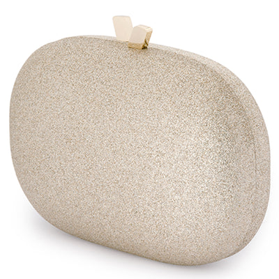 Calli Glitter Oval Gold Clutch Side View