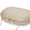 Calli Glitter Oval Gold Clutch Detail View