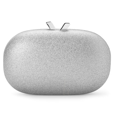 Calli Glitter Oval Silver Clutch Front View