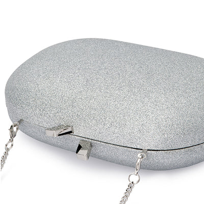 Calli Glitter Oval Silver Clutch Detail View