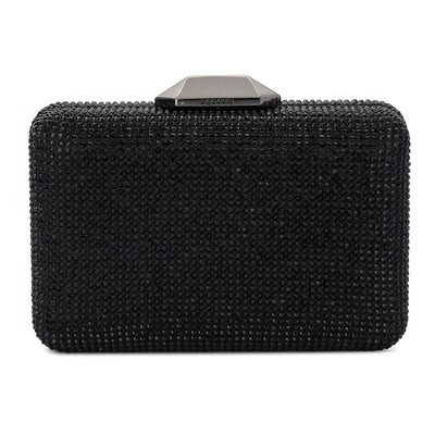 Evelyn Crystal Rectangular Black Clutch Front View