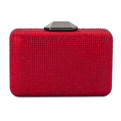 Evelyn Crystal Rectangular Red Clutch Front View