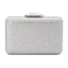 Evelyn Crystal Rectangular Silver Clutch Front View