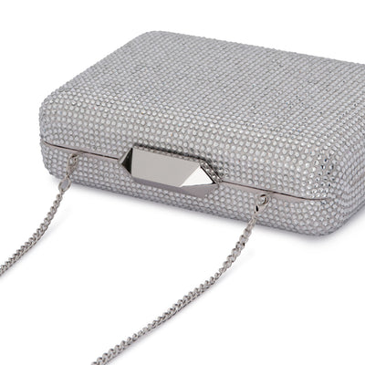 Evelyn Crystal Rectangular Silver Clutch Detail View