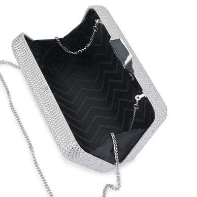 Evelyn Crystal Rectangular Silver Clutch Internal View