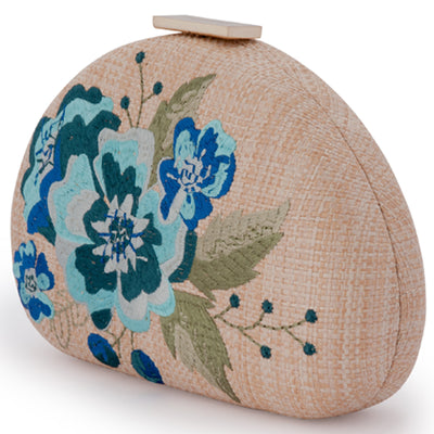 Olga Berg Flora Blue Embroidery Clutch Side View